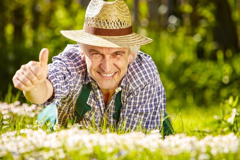 Trädgårdsmästare i blommaäng och tumme upp royaltyfri bild