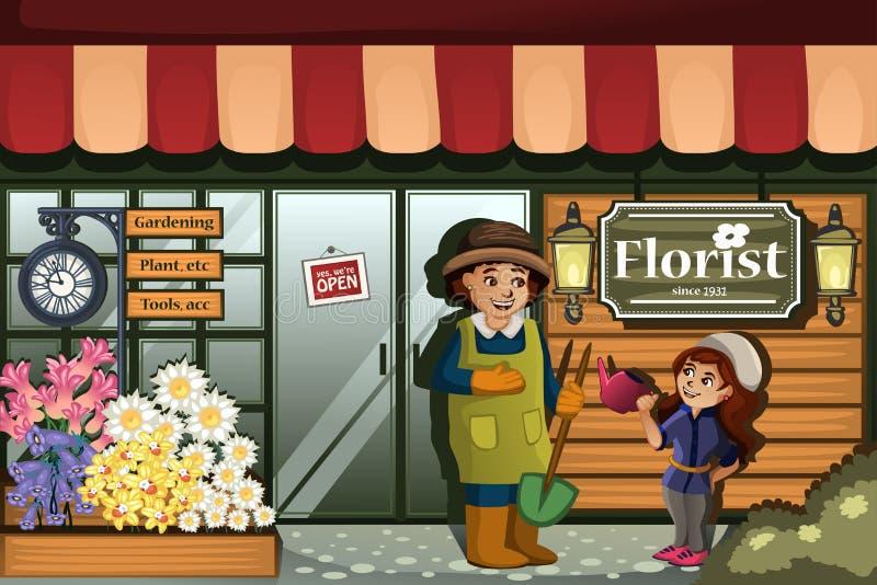 Trädgårdsmästare i en blomsterhandel med ungen royaltyfri illustrationer