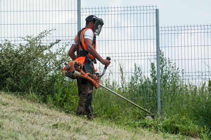 Trädgårdsmästare med borsteskäraren i en slutta lutning arkivfoton
