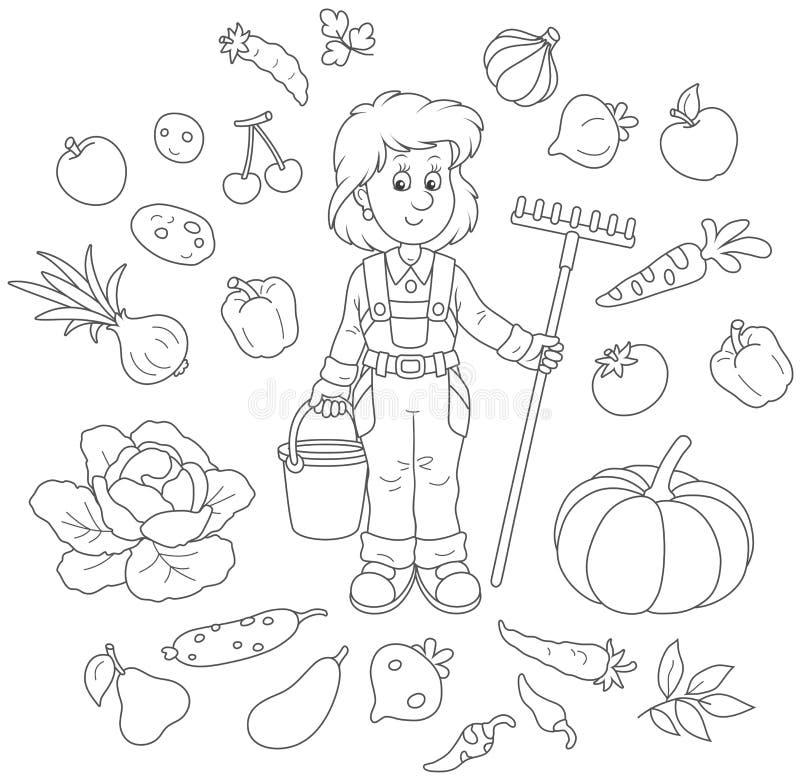 Trädgårdsmästare med frukt och grönsaker royaltyfri illustrationer
