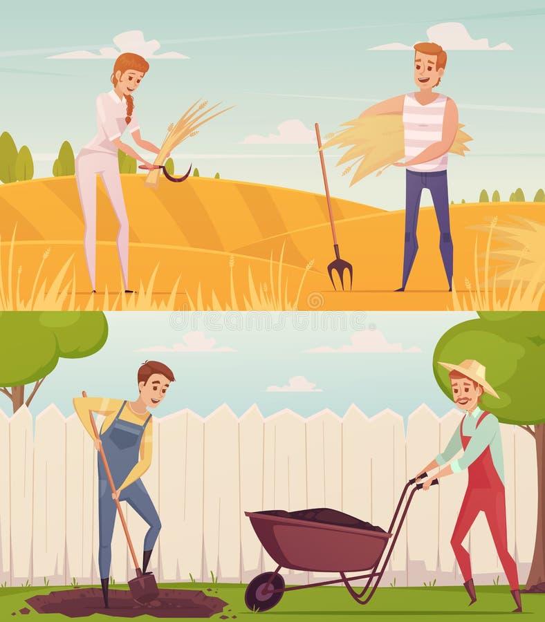 Trädgårdsmästare på arbetssammansättningar stock illustrationer