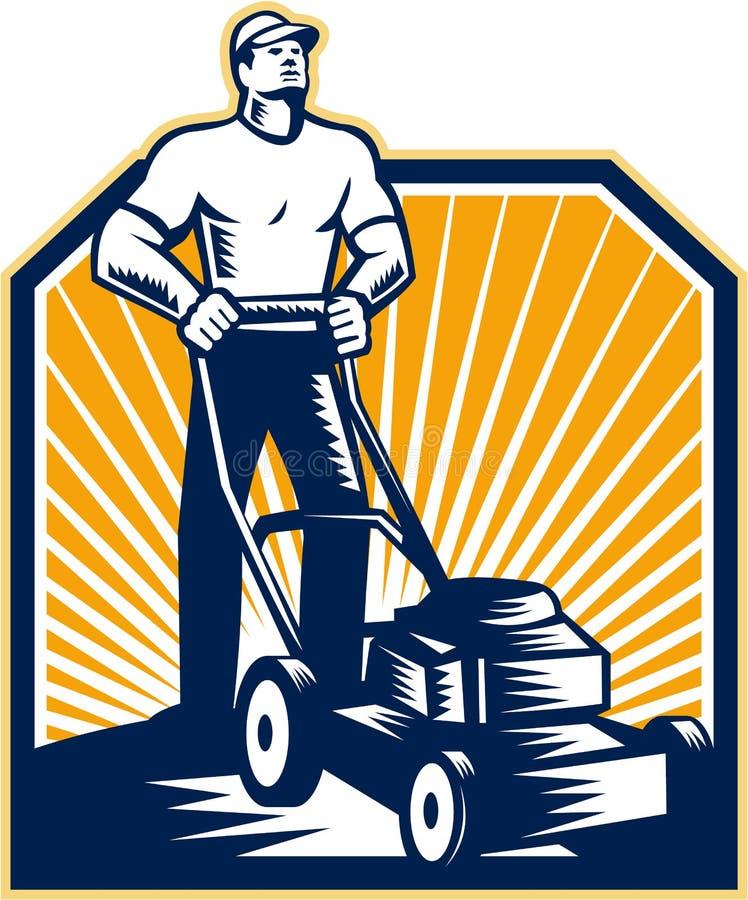 Trädgårdsmästare Retro Mowing Lawn Mower royaltyfri illustrationer