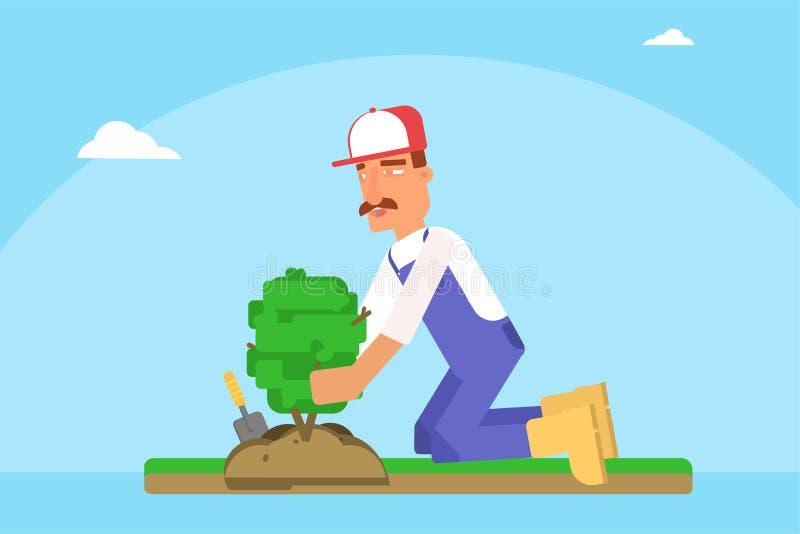 Trädgårdsmästare som planterar den plana vektorillustrationen för ungt träd vektor illustrationer