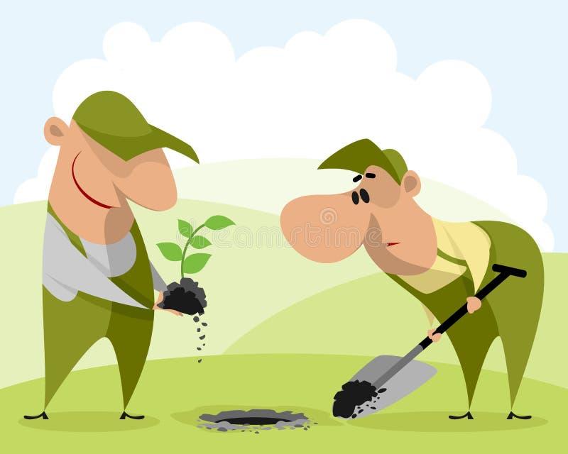 Trädgårdsmästare som planterar en växt royaltyfri illustrationer