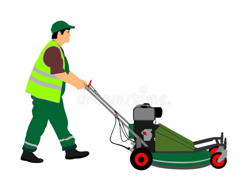 Trädgårdsmästareman som mejar gräsklipparevektorn Bonde med jordbruks- maskineri royaltyfri illustrationer