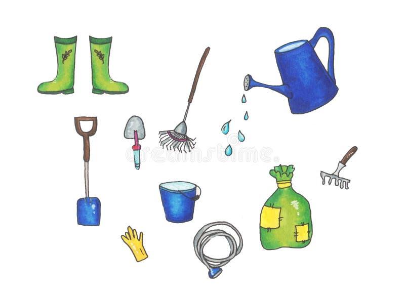 Tr?dg?rdsm?stareutrustningupps?ttning av objekt som beh?vs f?r att arbeta i tr?dg?rden och att bruka isolerade illustrationer royaltyfri illustrationer