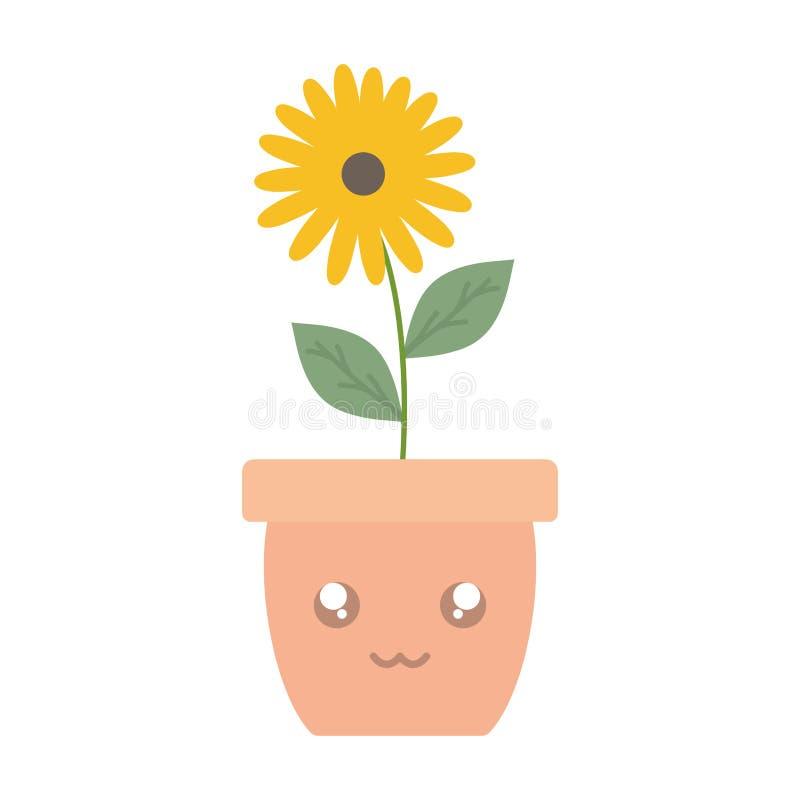 Trädgårdsolrosväxt i krukakawaiitecken stock illustrationer