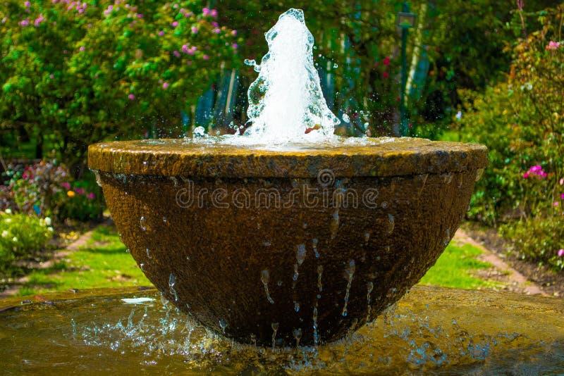 Trädgårdspringbrunn med vattencloseupen royaltyfri fotografi