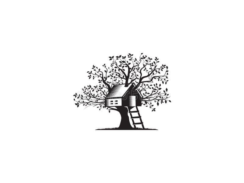 Trädhus vektor illustrationer