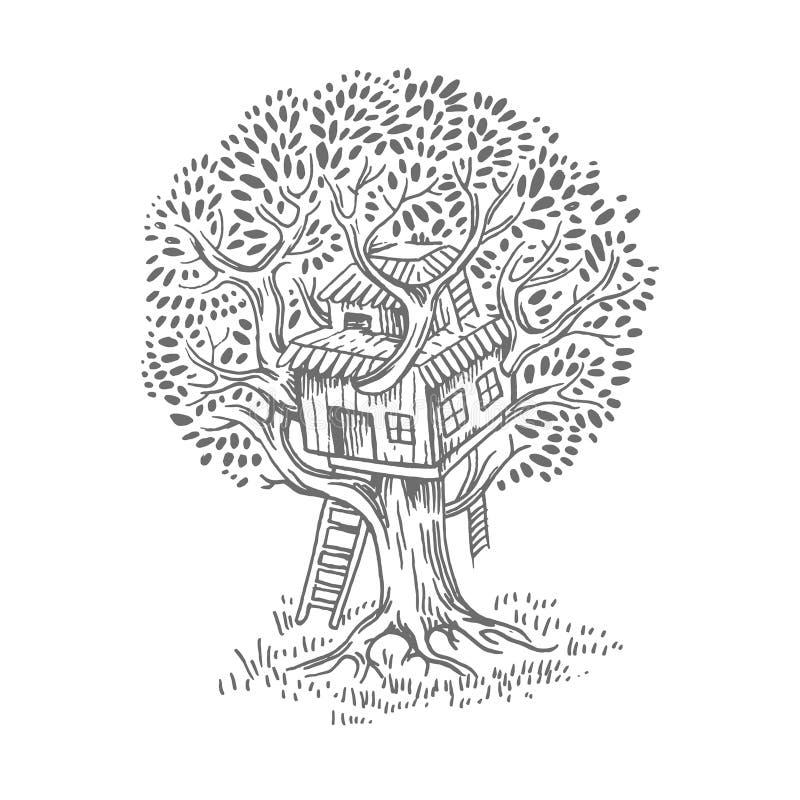 Trädhus Hus på trädet för ungar Barnlekplatsstege Plan stilvektorillustration stock illustrationer