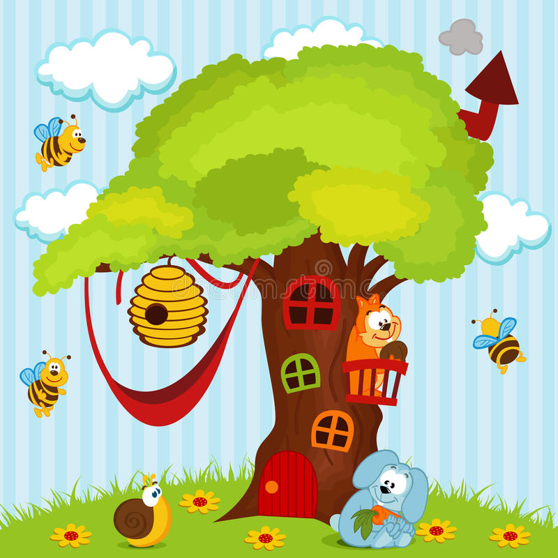 Trädhus med djur stock illustrationer