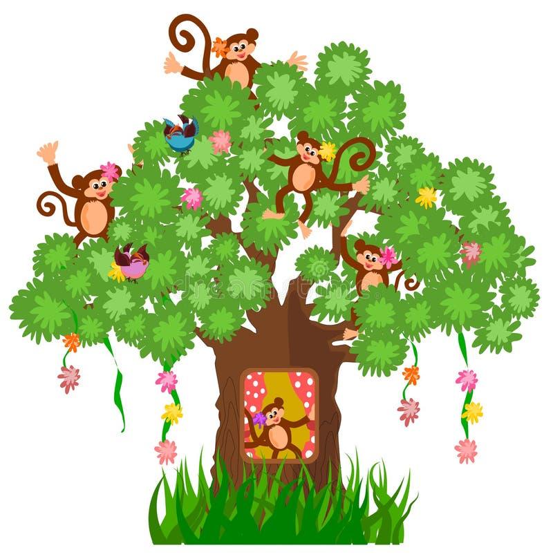 Trädhus och apa stock illustrationer
