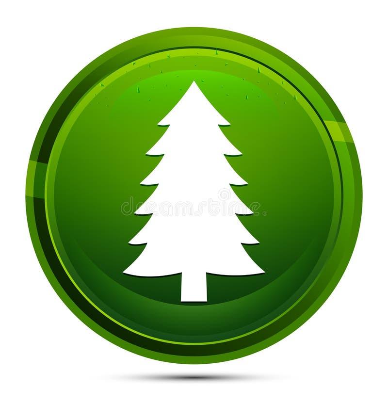 Trädikonen för Evergreen conifer pine-träd är glassy green round-knappillustration vektor illustrationer