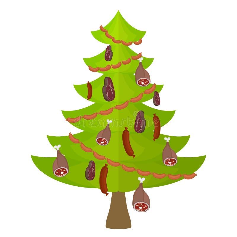 Trädköttmat och läckerhet julen dekorerade treen royaltyfri illustrationer