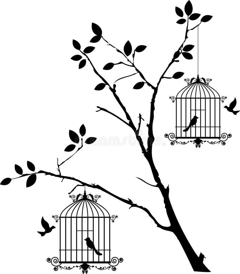 Trädkontur med att flyga för fåglar och fågel i en bur royaltyfri illustrationer