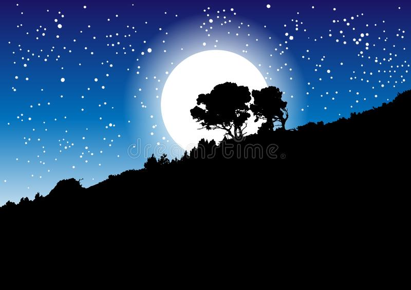 Trädkontur mot en natthimmel, stjärnor och månen vektor illustrationer
