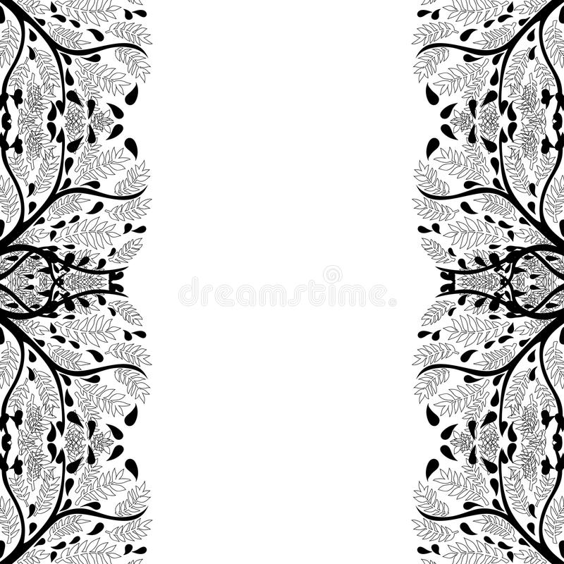 Trädkonturgräns som isoleras på vit bakgrund också vektor för coreldrawillustration stock illustrationer