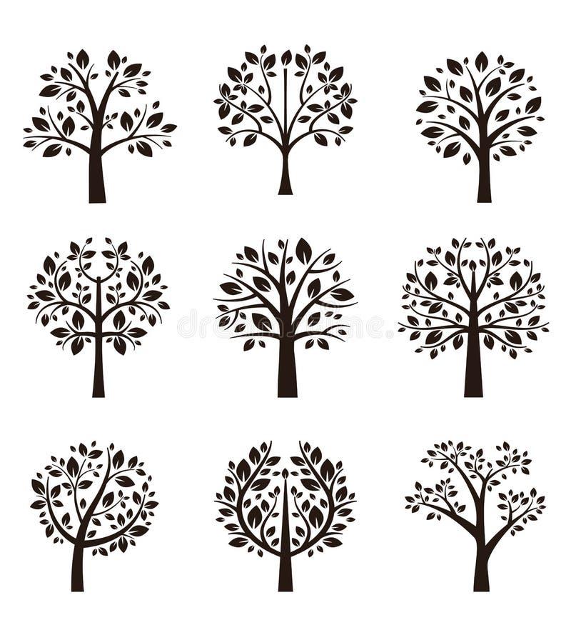 Trädkonturn med rotar och förgrena sig vektor illustrationer