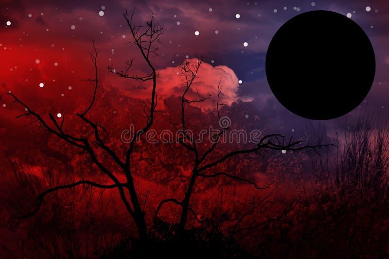 Trädkonturn och fullmånen och tömmer utrymme för text eller förgrund med den snabba banan till att ändra bakgrunden arkivfoton