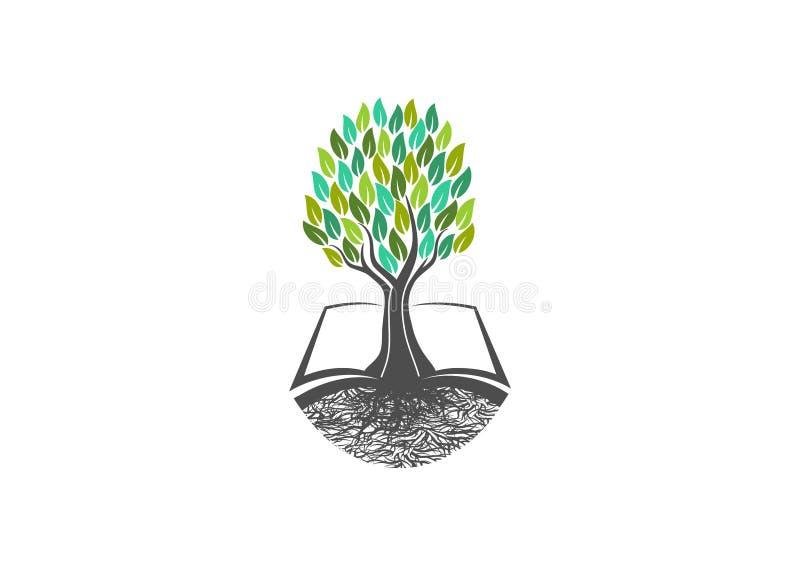 Trädkunskap, boklogo, naturligt, lära, symbol, sunt, symbol, växter, skola, trädgård, öppen böcker, organiskt, landskap och utbil royaltyfri illustrationer