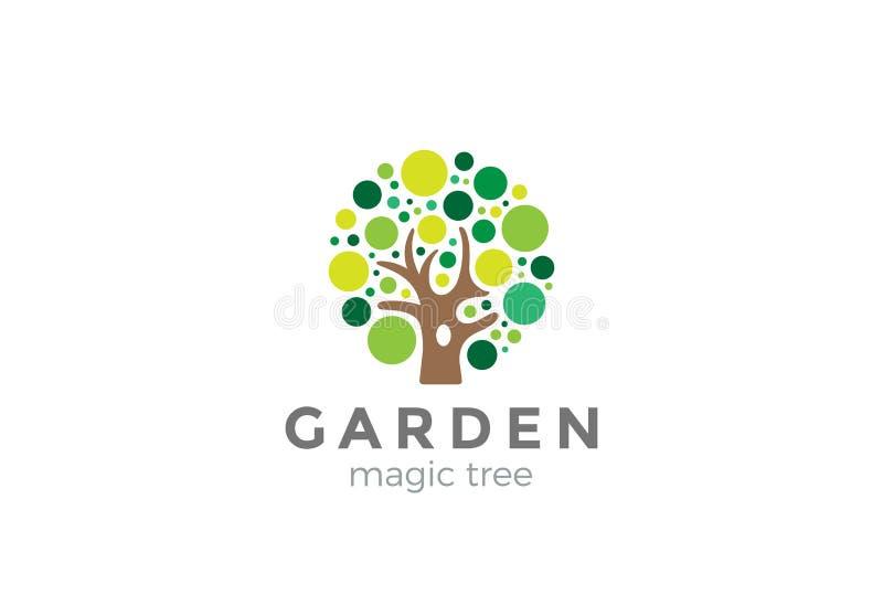Trädlogodesign Idérik idéträdgårdjournal vektor illustrationer