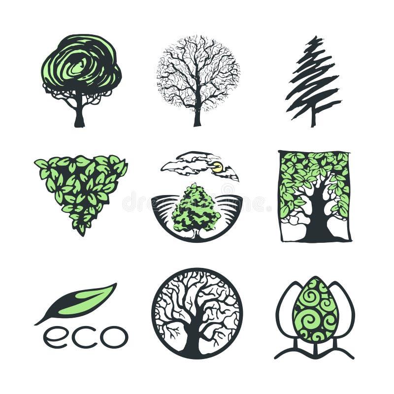 Trädlogosamling vektor illustrationer