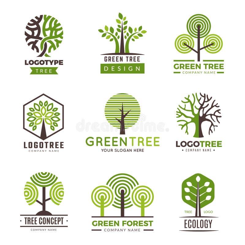 Trädlogotyper Logo för vektor för växter för träd för Eco gräsplansymboler trä stiliserad vektor illustrationer