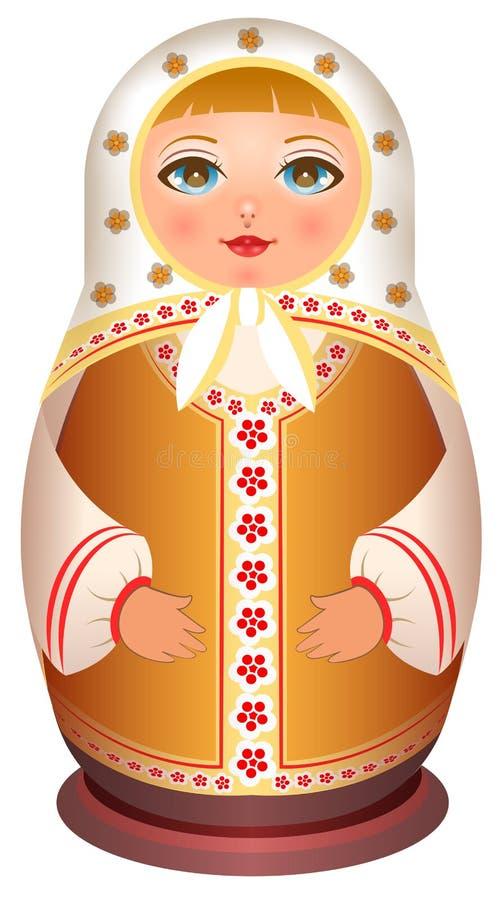 Trädocka för rysk flicka Traditionell nationell leksakmatryoshka stock illustrationer
