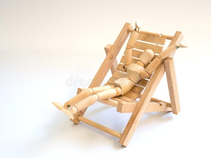Trädocka på trästrandstolen på vit isolerad skärmbakgrund Kopieringsutrymme för text och innehåll Begrepp av loppet, royaltyfri bild