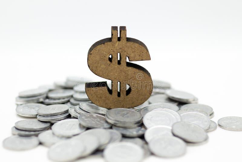 Trädollartecken och mynt Avbilda till salu bruk, köp, handla, handla, affärstidbegreppet royaltyfri foto
