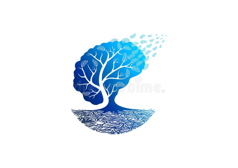 Trädpsykologilogo royaltyfri illustrationer