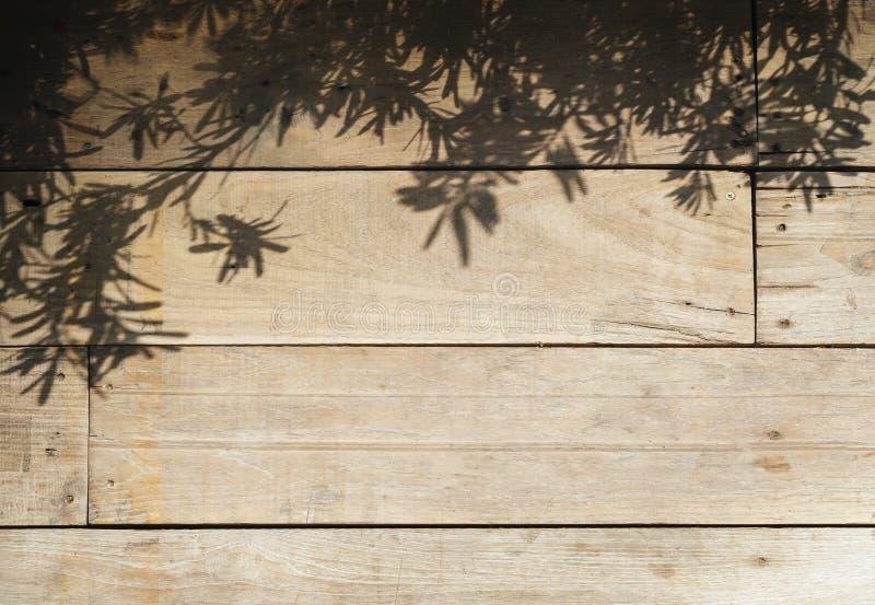 Trädsidor skuggar på Wood bakgrund för plankanaturabstrakt begrepp arkivfoto