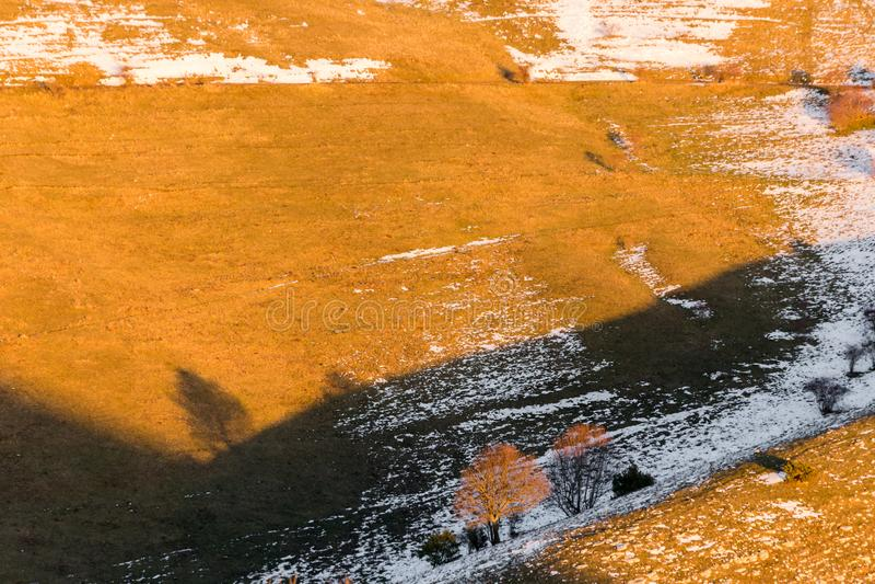 Trädskugga på ett berg med smältande snö, med varm solnedgång färgar arkivfoto