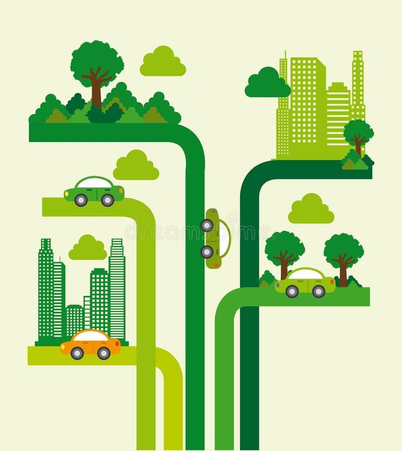 Trädstadsdesign stock illustrationer