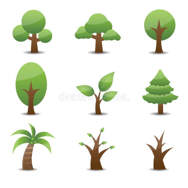 Trädsymbol royaltyfri illustrationer