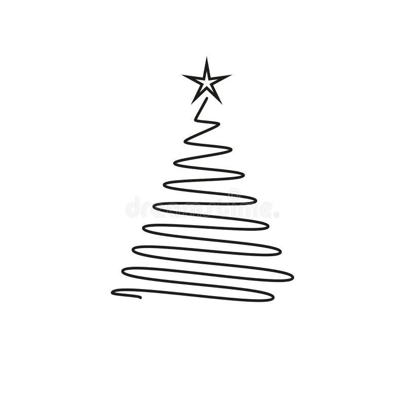 Trädsymbol för nytt år i översikten stock illustrationer