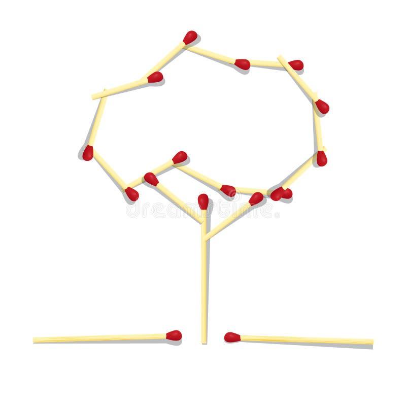 Trädsymbol som göras från matcher stock illustrationer