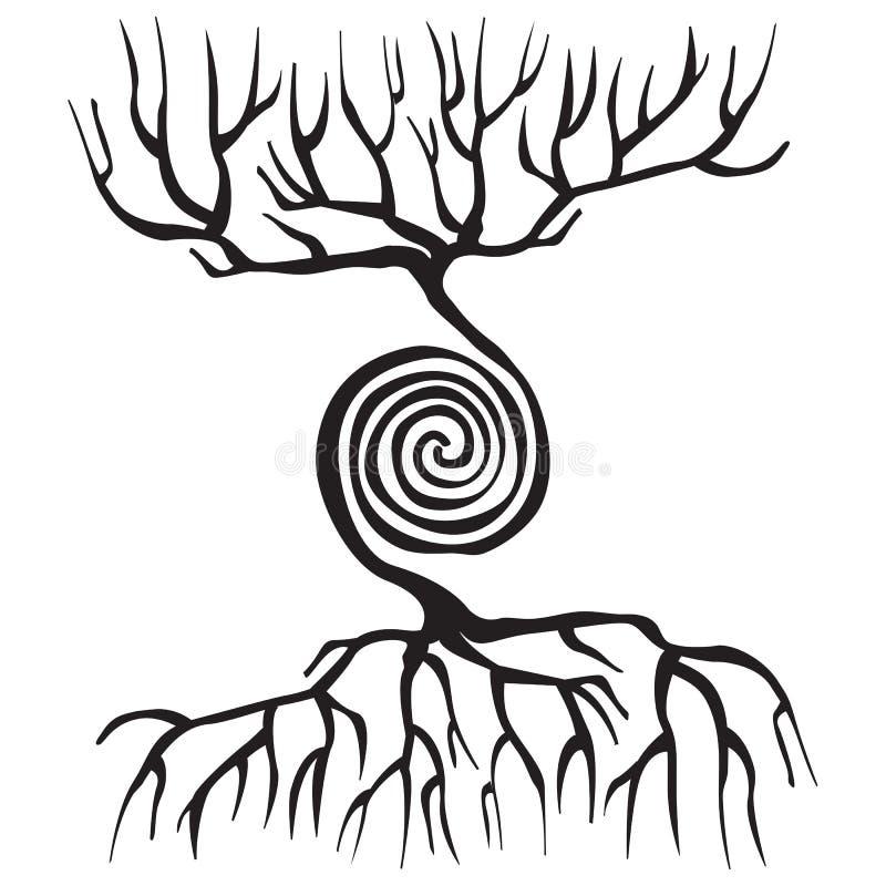 Trädsymbolet med rotar och en spiral vektor illustrationer