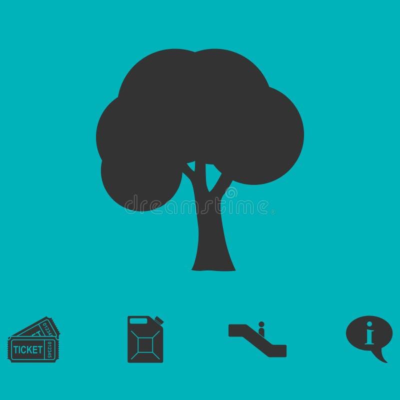 trädsymbolslägenhet royaltyfri illustrationer