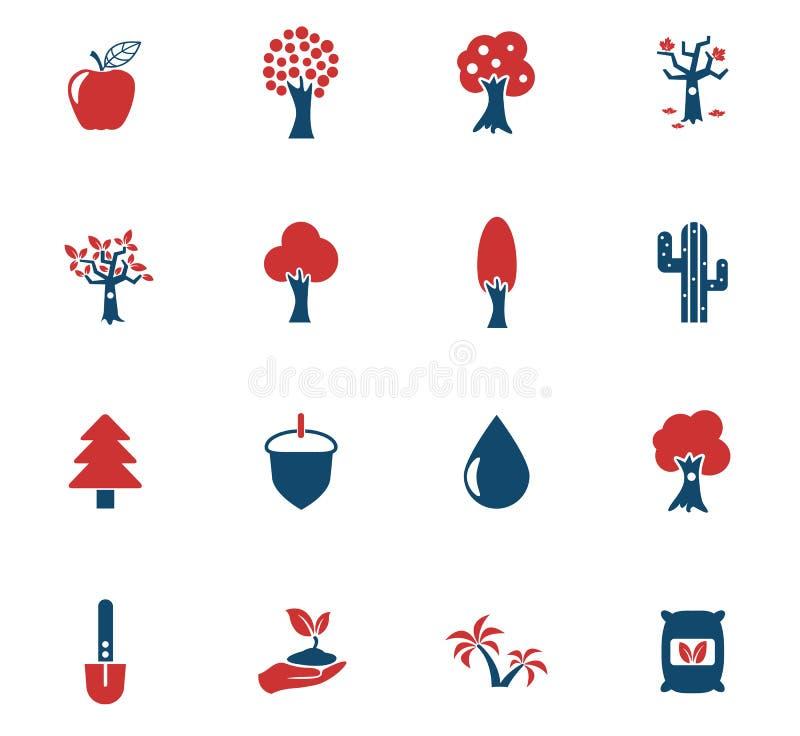 Trädsymbolsuppsättning royaltyfri illustrationer