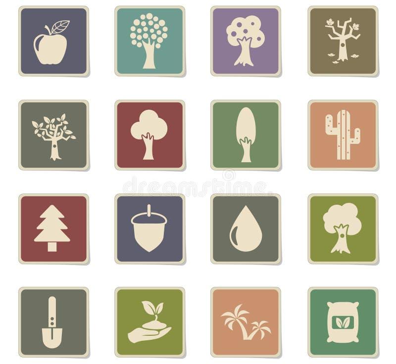 Trädsymbolsuppsättning stock illustrationer
