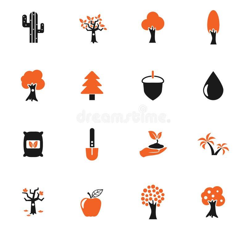 Trädsymbolsuppsättning vektor illustrationer