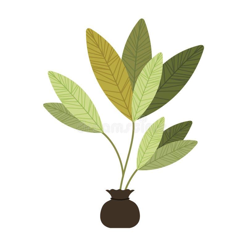 Trädväxt att odla den isolerade symbolen stock illustrationer