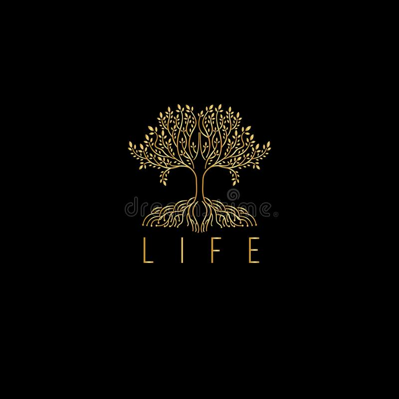 Trädvektorlogo Trädsymbol Lyxig monogram för träd för boutique vektor illustrationer