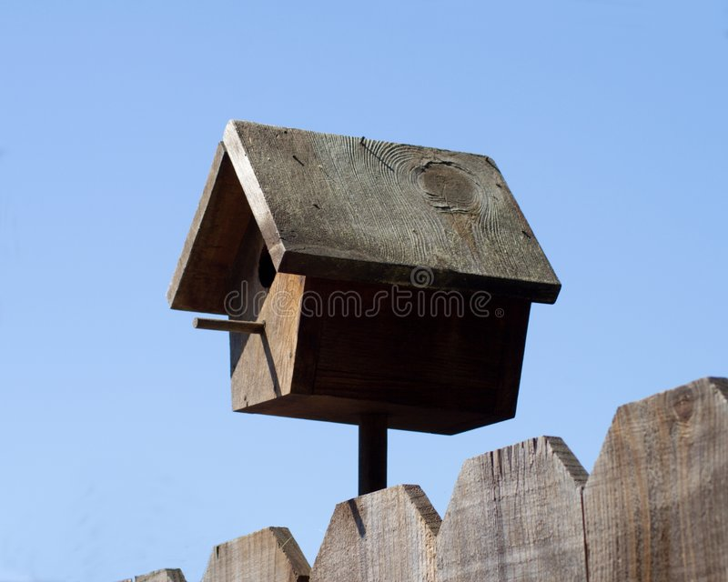träfågelhus royaltyfri foto