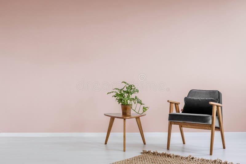 Träfåtölj med grå stoppning och en sidotabell i en vardagsruminre för pastellfärgade rosa färger med stället för en bokhylla Verk arkivbilder