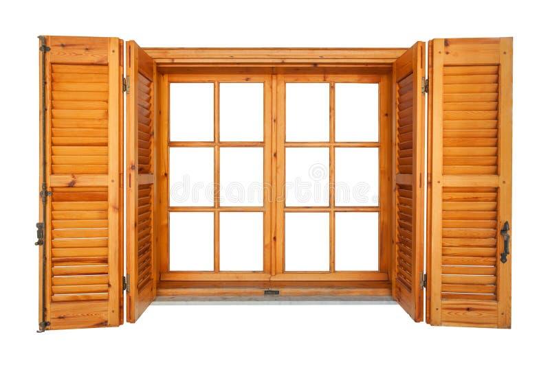 Träfönster med isolerade slutare royaltyfria bilder