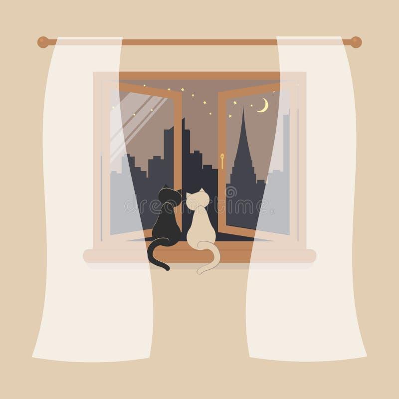 Träfönster med tyll som designbeståndsdelen för inre av rum på kräm- bakgrund Nattstadsplatsen eller cityscape är utvändiga stock illustrationer