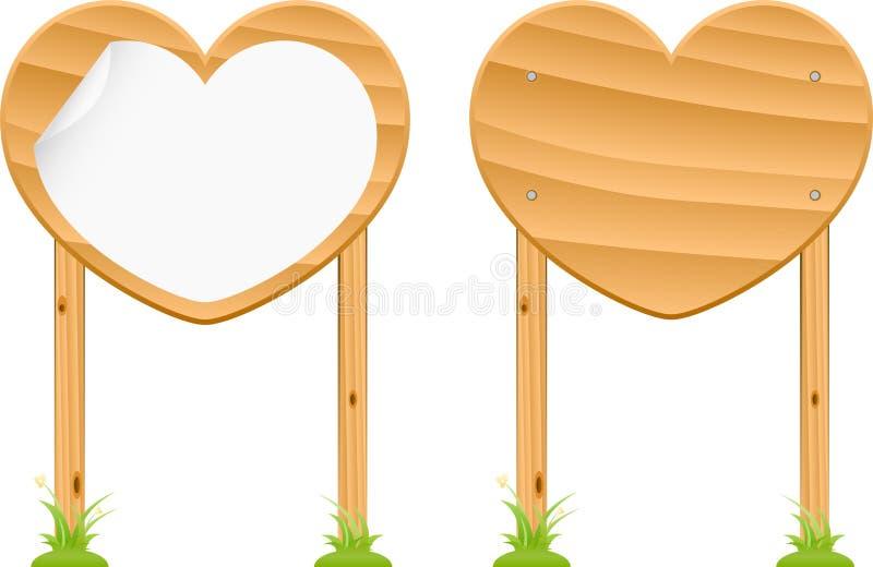 Träförälskelseteckenuppsättning 1 vektor illustrationer