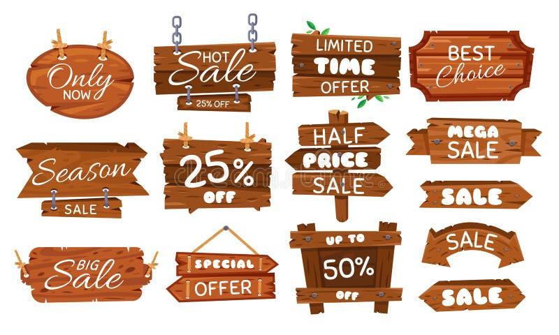 Träförsäljningsklistermärke Säsongförsäljningar undertecknar, etiketten för träbrädeerbjudandet och för prisetikett för tappning  royaltyfri illustrationer